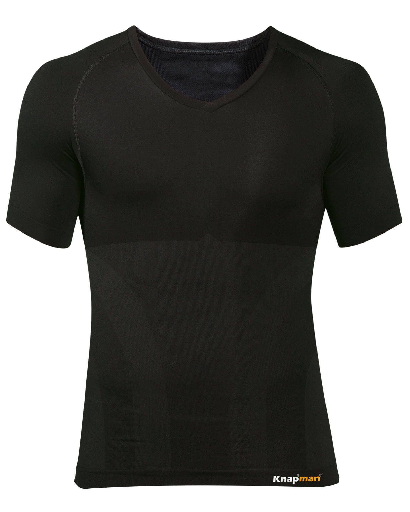 Knap'man Zoned Cotton Comfort V-hals shirt zwart